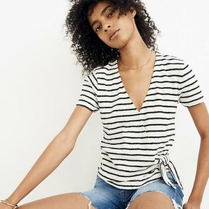 Madewell Texture and thread striped wrap top